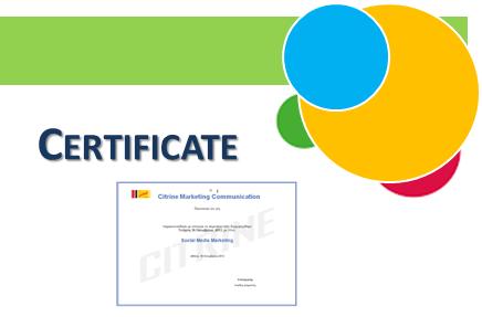 Certification Για το Σεμινάριο by Citrine Marketing Communication